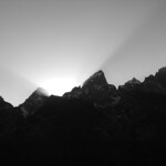 Setting sun behind the Tetons in Jackson Hole, Wyoming, shot with my old Konica Minolta.